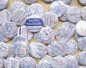 Unique Handmade Wedding Favors - Los Angeles Lovers -100 One Inch Pinback Buttons