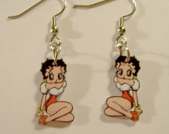 Handcrafted Plastic Betty Boop Dangle Earrings Made in USA