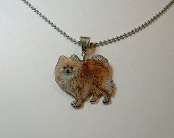 Handcrafted Plastic Pomeranian Necklace Pendant Made in USA