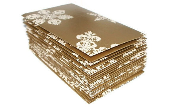 Let it Snow- 24 Mini (Business Card Size) Envelopes. Winter Theme. Snowflakes. Classic. Gold and White. Gift Enclosures