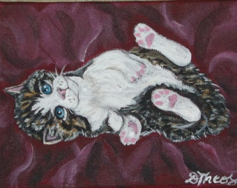 Playful Tabby Kitten Original OOAK Mini Painting