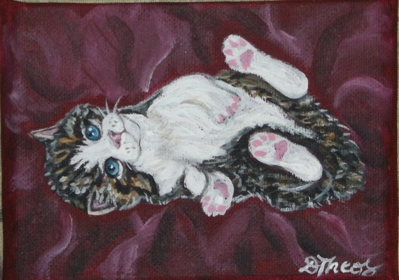 Playful Tabby Kitten Original OOAK Mini Painting