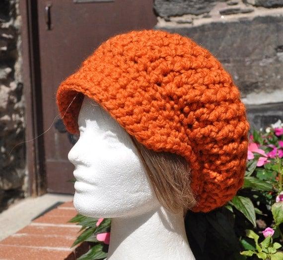 Orange Slouchy Newsboy Hat in Wool / Acrylic Blend - Crochet Hat