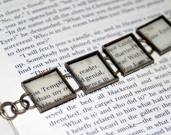 Jane Eyre Recycled Book Bracelet, Charlotte Bronte, Book Gift, Literary Gift