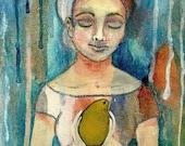 Frida inspired Mixed Media painting  Woman with Pear Acrylics Original Art