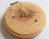 Honeycomb and Bees Hand Embroidered Blackwork Clock