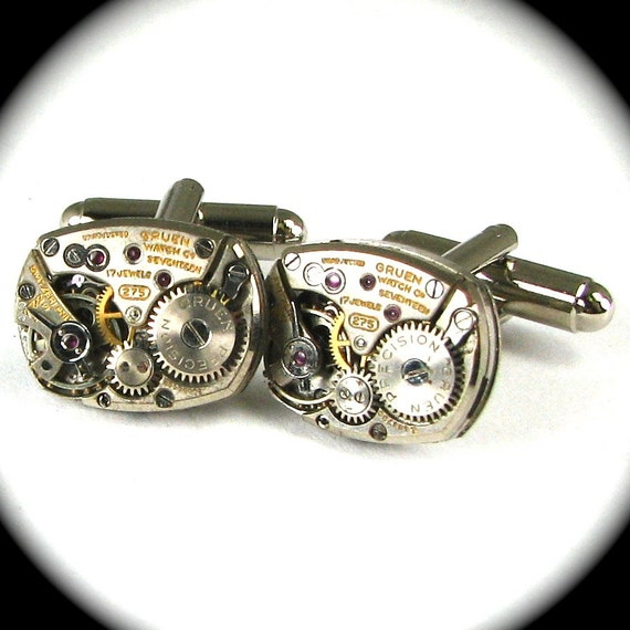 UNIQUE Steampunk Cuff Links Featuring Beveled Rectangular Clockwork Movements by Nouveau Motley