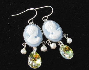 Sterling Silver Bezel Set Cameo Earrings with Crystal and Freshwater Pearls
