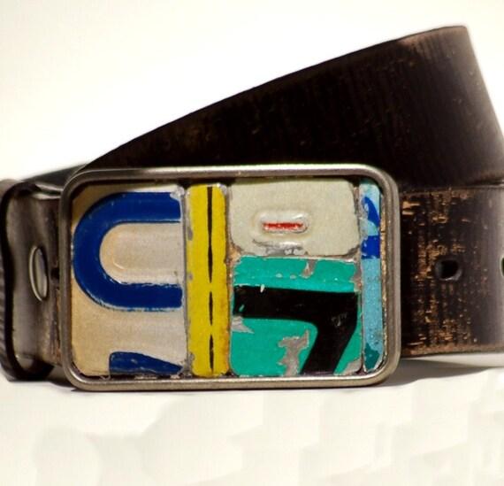 Metal Mosaic Belt Buckle Vintage License Plate