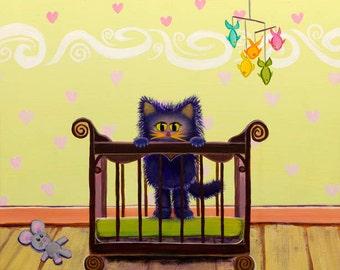 Cranky Cat Matted Print - Kitten In Crib