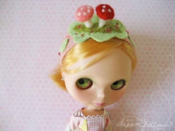 Pink Mushrooms headband for Blythe