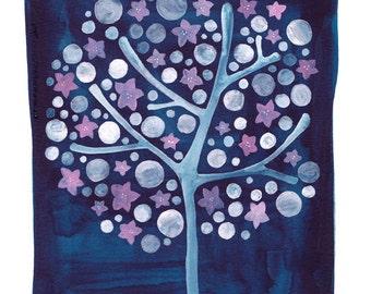 Watercolor Art Print Tree Painting - Delicate - Baby Girl Nursery Wall Art