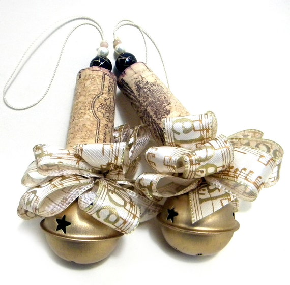 Six Gold and Creme Handmade Christmas Corkaments