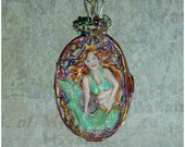 Half Price Sale Summer Fun Mermaid Handpainted Wire Wrapped Pendant