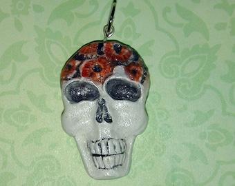 Flowers in Spring Skull  Dia de los Muertos OOAK Pendant