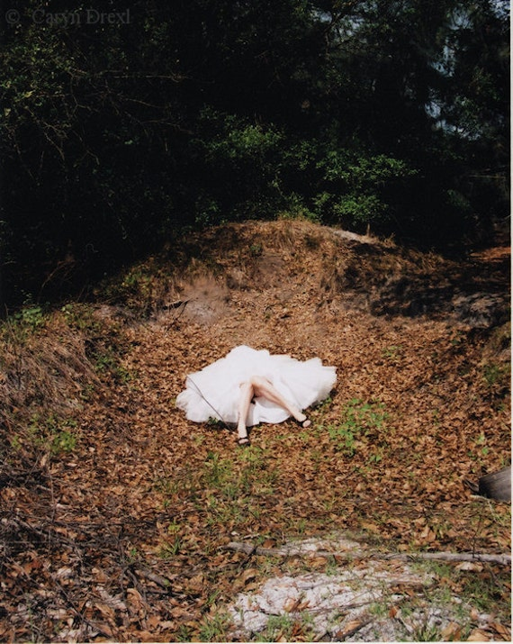She Fell - FREE SHIPPING Surreal Photo Print Fallen Girl Weird Art White Tulle Tutu Skirt Brown Nature Woman Legs Large Wall Decor Poster