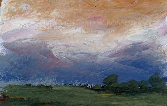 Dark Blue Sky Sunset Treeslandscape Original Painting
