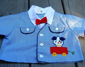 Vintage Baby Boy's Striped Bow Tie & Doggy in Wagon Shirt Size 6-12 Months