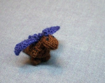 Tiny Perrin the Dragon - Knitted and Crocheted