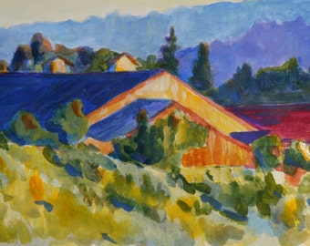 Blue Roof print of original acrylic painting 6x10 inches view of vineyard at sunset