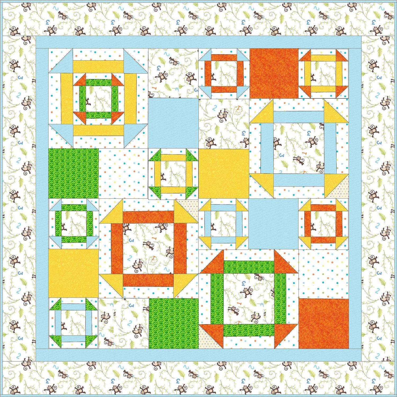 Modern Nursery Quilt Patterns : Modern Baby Quilt Pattern PDF file Monkey Around Beginner