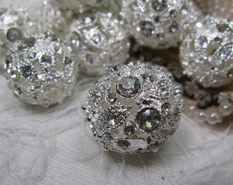 3 Rhinestone beads LARGE New inventory 19mm  SUPER SHINY silver