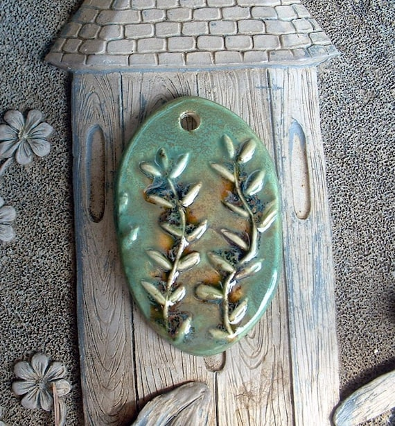 Green and Gold Vines Ceramic Pendant