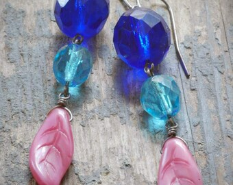 CLEARANCE: vintage cobalt blue, aqua & pink leaf earrings. vintage faceted czech glass, pressed glass on oxidized sterling silver by val b.