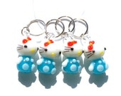 Hello In Light Aqua Kitty Stitch Markers - set of four - US10