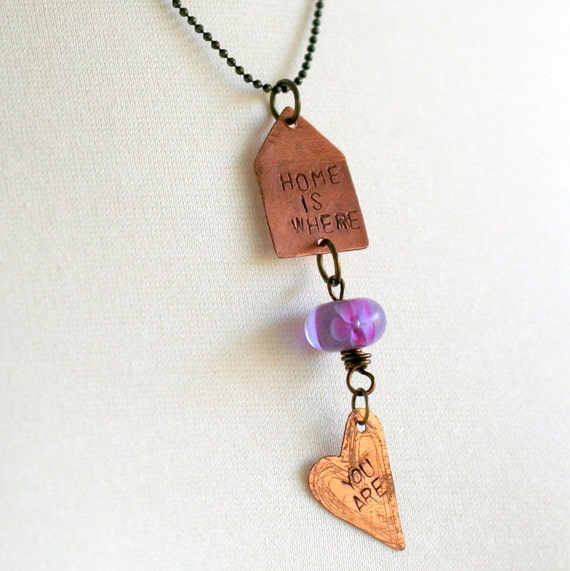 Hand Stamped Beaded Pendant Necklace, Words Jewelry, Meaningful Necklace, Heart Necklace