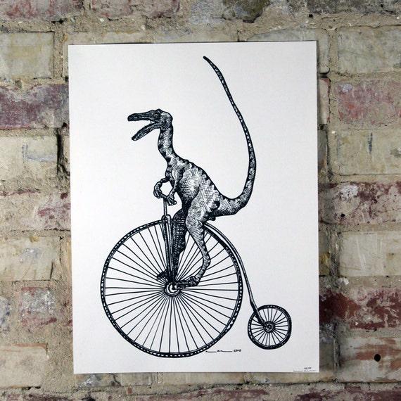 VELOciraptor  Dinosaur - Limited Edition One Color Screen Print - Artwork by Karl Addison