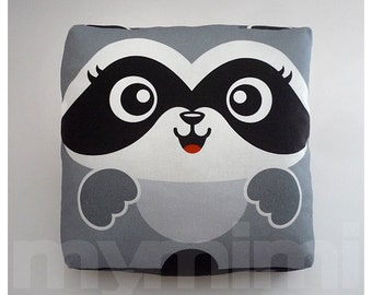 Decorative Pillow, Raccoon Pillow, Baby Animal, Woodland Animal, Throw Pillow, Kawaii, Room Decor, Nursery Decor, Childrens Toys, 7 x 7""