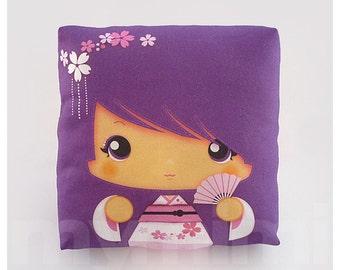 """Kawaii Girl, Girls Pillow, Geisha Pillow, Purple Pillow, Japanese Kokeshi Doll, Childrens Pillow, Throw Pillow, Girls Room Decor, 7 x 7"""""""