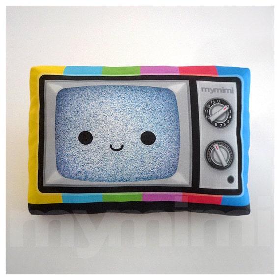 "Retro TV Pillow, Vintage Television, Movie Night, 80's, Rainbow, Geekery, Old School, Kawaii, Room Decor, Dorm, Novelty, Nerdy Gift, 9 x 6"""