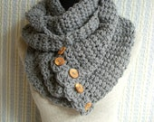 Gray Convertible Scarf  with 5 Chunky Reclaimed Wood Buttons
