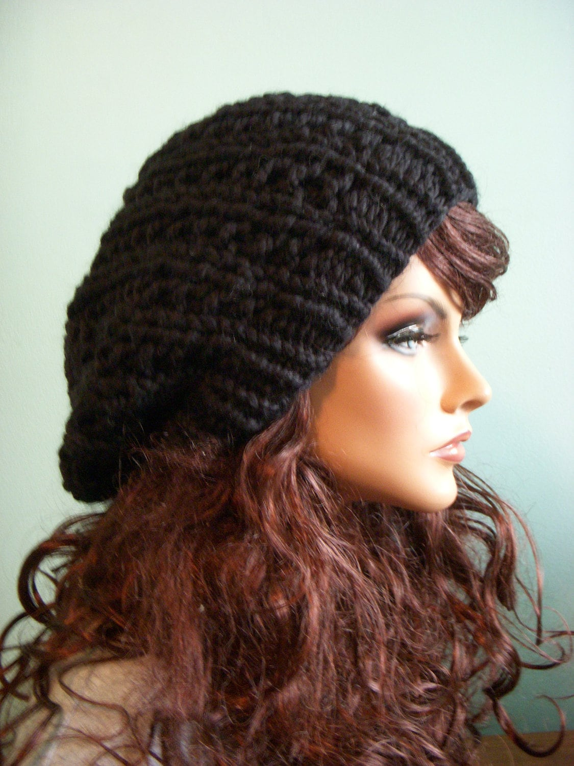 Black Slouchy Chunky Knitted Hat Hand Knit Jet Black Beret