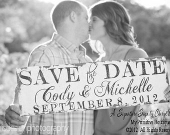 Save The Date Sign | Were Engaged | Newly Engaged | Personalized Sign | Photo Props | Engagement | Rustic Save the Date Sign | Wedding Signs
