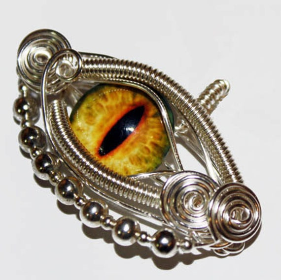 Glass Eye Pendant - Wire Wrap Yellow Dragon Taxidermy Glass Eyeball with 22 inch Sterling Silver Snake Chain