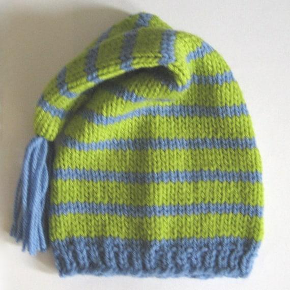 Knit Baby Hat Pattern Tutorial - Stocking Cap Pixie Elf Christmas Hannukah Ha...
