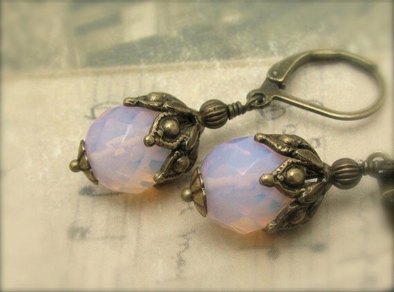 Rose Blue Earrings, Color Changing Glass, Victorian Wedding, Steampunk Wedding, Bridesmaid Earrings, Ornate Golden Earrings,Hawaii Jewelry