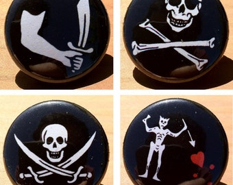 Pirate flag designs - button or magnet set of 4