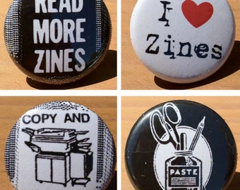 Zine set of 4 - Buttons or Magnets
