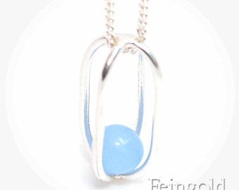 Sky Blue in Sterling Silver Pendant - March Birthstone - Sterling Silver 18 Inch Chain- Free US Shipping