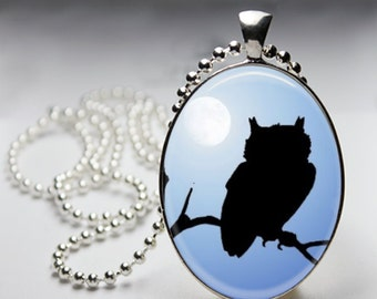 Moonlit Owl - Oval Pendant in Silver Bezel - Chain Sold Separately