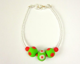 Christmas Bracelet - Lime Green & Red Handmade Polymer Clay Beads w/ Ice Clear Seed Bead Rope and Lobster Clasp - Holiday Collection 2012