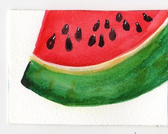 ACEO  Watermelon watercolors paintings original, small fruit Art Card, kitchen decor, miniature painting