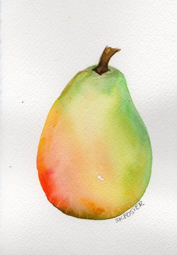 Original Green, Red and Yellow Pear Painting watercolor painting,4 x 6 , fruit series