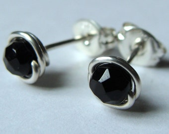 Black Onyx Studs Tiny Faceted Black Onyx Post Earrings Wire Wrapped in Sterling Silver Stud Earrings Onyx Studs