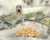 Komodo Dragon Halloween Card with Candy Corn Weird Creepy Reptiles Greeting Card