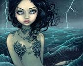 Sea Storm lightning mermaid fairy art print by Jasmine Becket-Griffith 8x10